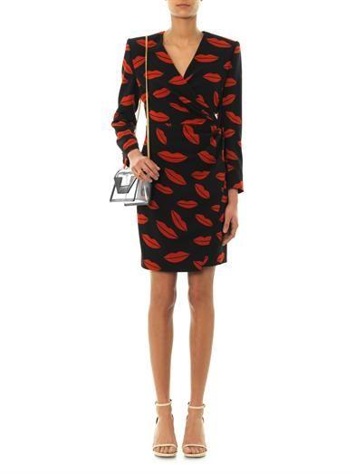Saint Laurent Archive lips-print silk-crepe dress