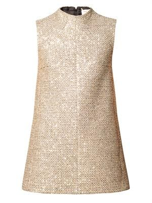 Sequined tweed mini dress