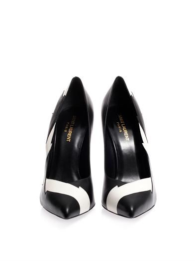 Saint Laurent Paris lightning bolt leather pumps