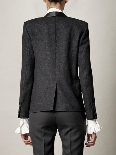 Saint Laurent Glitter crepe wool blazer