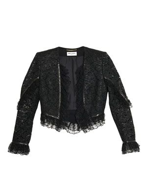 Lace ruffle detail cropped jacket