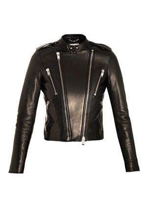 Open neck leather jacket