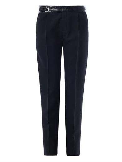 Saint Laurent Leather waistband skinny-leg tailored trousers
