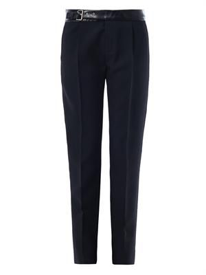 Leather waistband skinny-leg tailored trousers