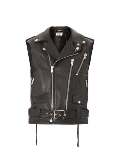 Saint Laurent Perfecto sleeveless leather jacket
