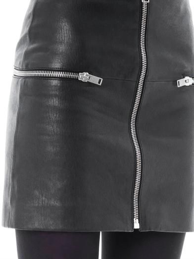 Saint Laurent Zipped leather mini skirt