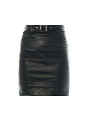 Buckle-detail leather mini skirt