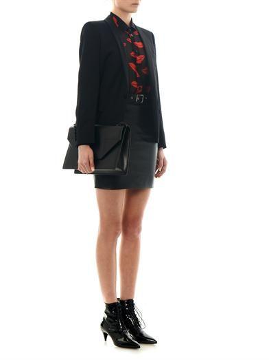 Saint Laurent Buckle-detail leather mini skirt