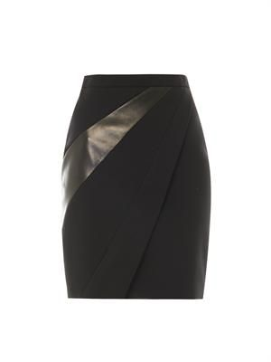 Leather-panel wool-crepe skirt