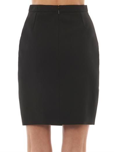 Saint Laurent Leather-panel wool-crepe skirt