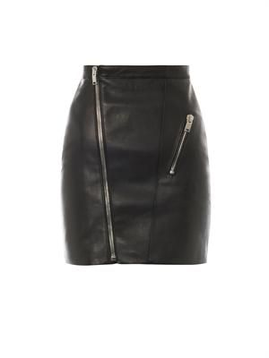 Zip-front leather skirt