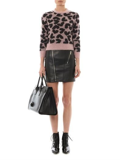 Saint Laurent Zip-front leather skirt