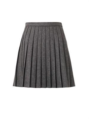 Pleated natté-wool mini skirt
