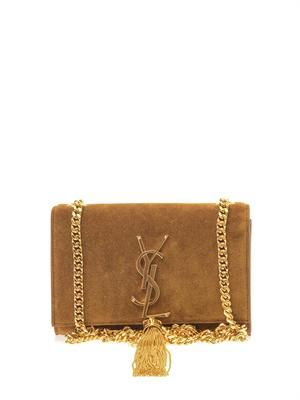 Monogram small suede shoulder bag