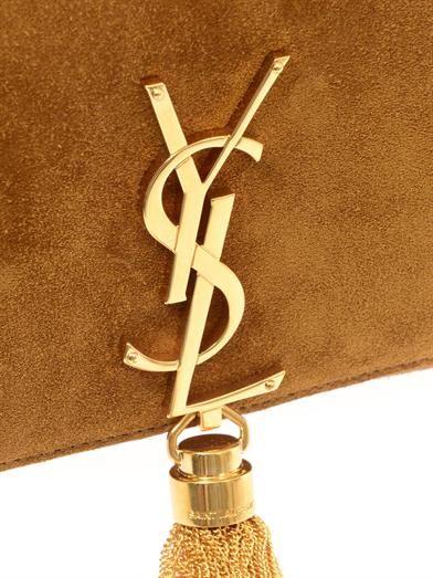 Saint Laurent Monogram small suede shoulder bag