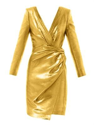 Metallic lamé ruched wrap dress
