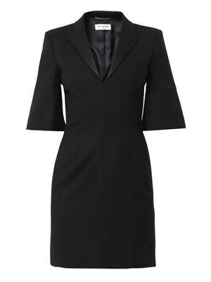 Tuxedo wool-crepe dress