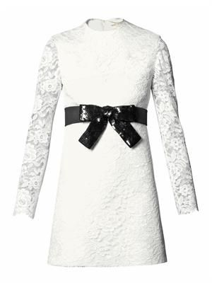 SAINT LAURENT Sequinned-bow lace dress