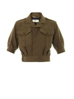 Cropped military-style jacket