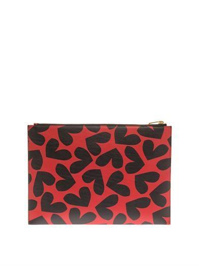 Saint Laurent Big Hearts leather pouch