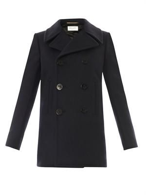 Double-breasted navy wool pea coat