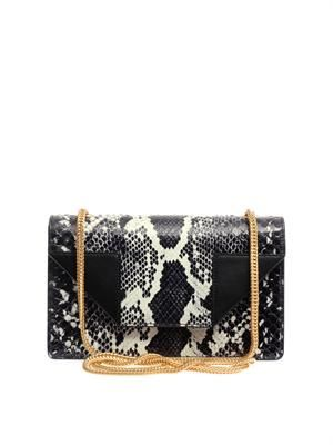Betty python and leather shoulder bag