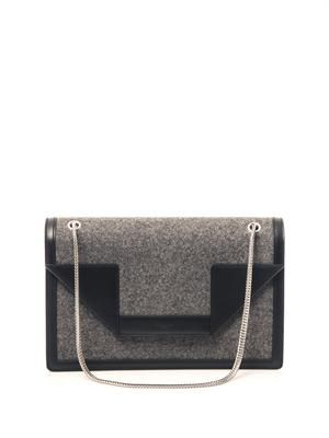 Betty leather and felt shoulder bag