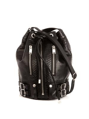 Rider embossed-leather bucket bag