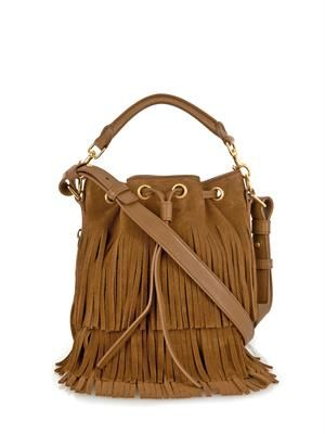 Fringe suede small bucket bag
