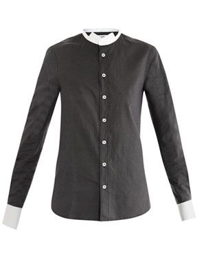 Micro-dot inverted-collar shirt