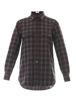 Check-print wool-crepe shirt