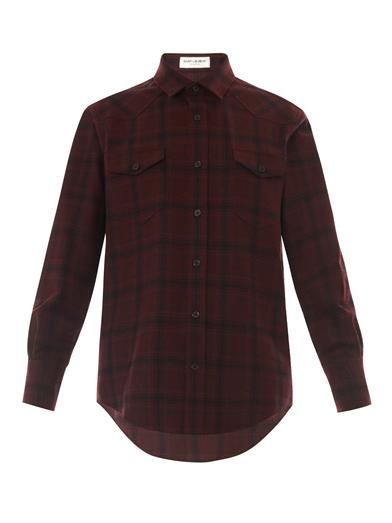 Saint Laurent Check-print wool-flannel shirt