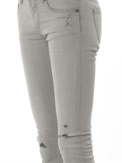 Saint Laurent Distressed mid-rise skinny jeans