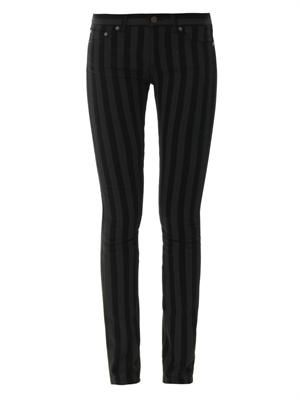 Striped mid-rise skinny jeans