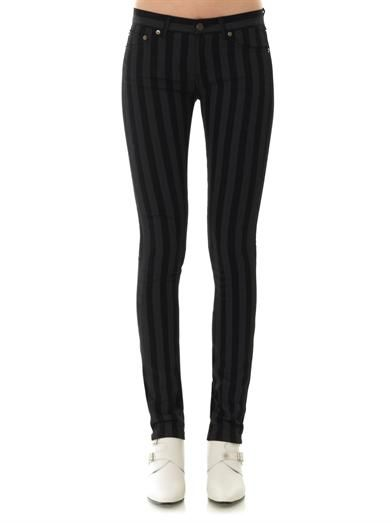 Saint Laurent Striped mid-rise skinny jeans