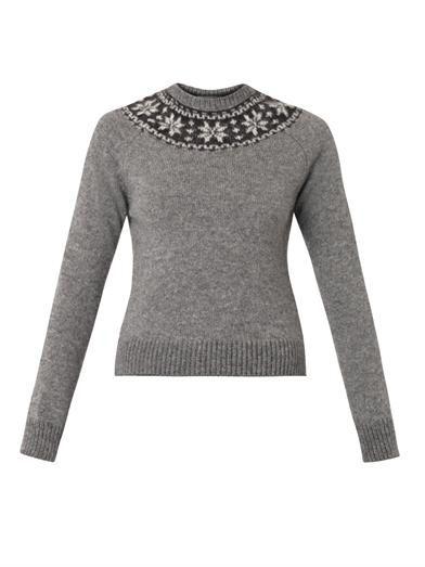 Saint Laurent Fair Isle mohair and wool-blend sweater