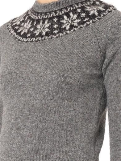 Saint Laurent Fair Isle mohair and wool-blend sweater