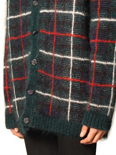 Saint Laurent Tartan mohair-blend oversized cardigan