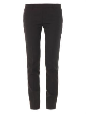 Satin-stripe wool trousers