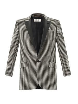 Houndstooth leather-lapel jacket