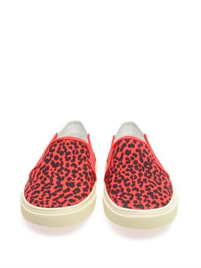 Saint Laurent Leopard-print canvas slip-on trainers