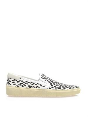 Leopard-print canvas slip-on trainers