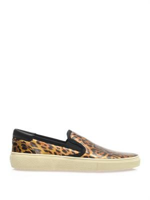 Leopard lamé slip-on trainers