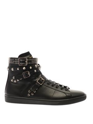 Wolly studded high-top leather trainers