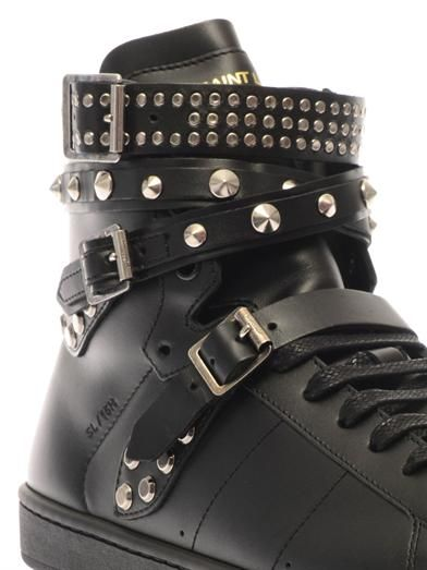 Saint Laurent Wolly studded high-top leather trainers