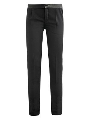 Leather waistband tailored wool trousers