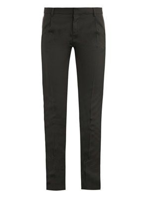 Leather stripe tux trousers