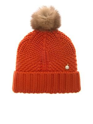 Serenity fur-pompom wool-knit beanie