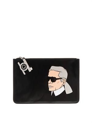 Karl leather clutch