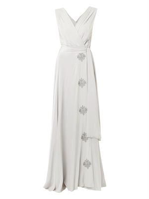 Isidora embroidered silk-crepe dress